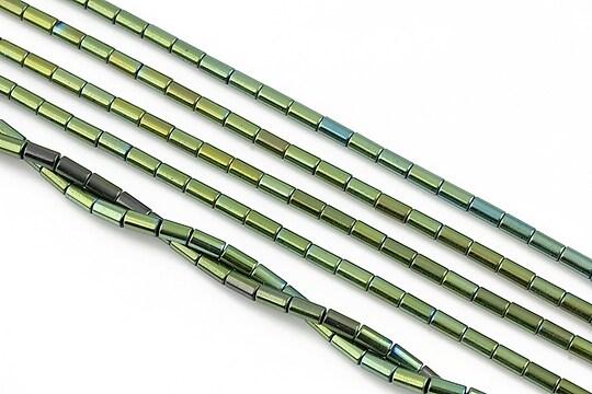 Hematit electroplacat tub 4x2mm - verde