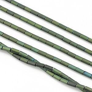 Hematit electroplacat tub 4x2mm - verde mat