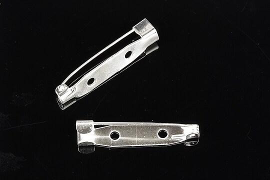 Baza brosa argintie cu 2 gauri 32x6mm