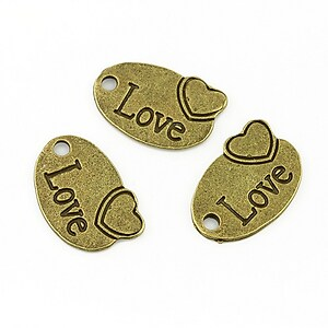 Charm bronz love 18x13mm