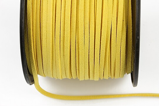 Snur suede (imitatie piele intoarsa) 3x1mm, galben porumb (1m)