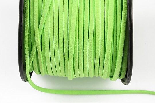 Snur suede (imitatie piele intoarsa) 3x1mm, verde neon (1m)