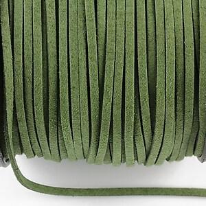 Snur suede (imitatie piele intoarsa) 3x1mm, verde militar (1m)