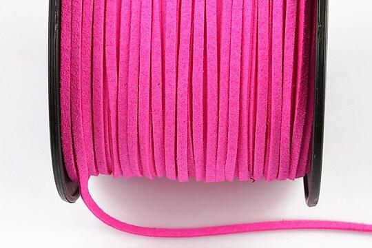 Snur suede (imitatie piele intoarsa) 3x1mm, roz neon (1m)