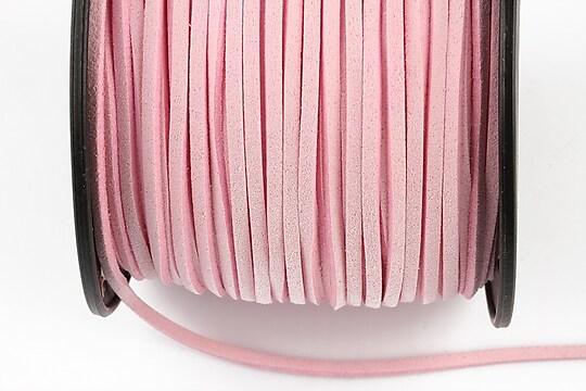 Snur suede (imitatie piele intoarsa) 3x1mm, roz (1m)