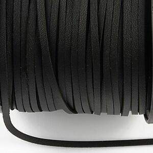 Snur faux suede latime 3mm (1m) - negru cu efect de piele