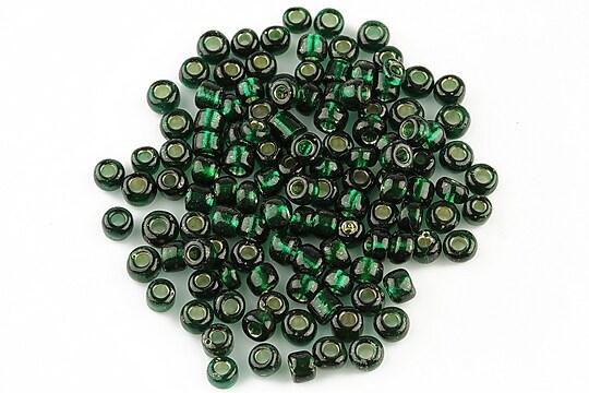 Margele de nisip 4mm cu foita argintie (50g) - cod 152 - verde inchis