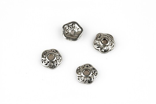 Capacele margele argint tibetan 10mm (10 buc.)