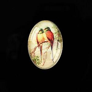 "Cabochon sticla 25x18mm ""Birds Sounds"" cod 514"