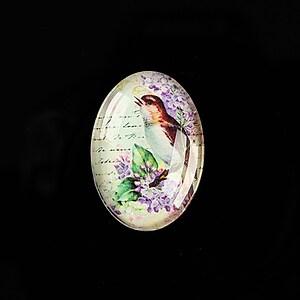 "Cabochon sticla 25x18mm ""Birds Sounds"" cod 515"