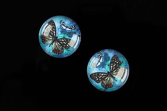 "Cabochon sticla 18mm ""Fly Butterfly"" cod 519"