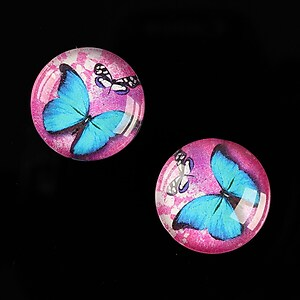"Cabochon sticla 18mm ""Fly Butterfly"" cod 520"