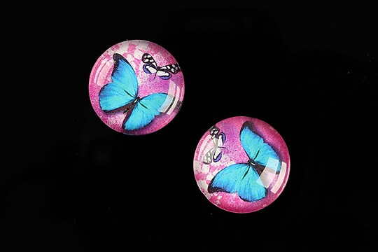 """Cabochon sticla 18mm """"Fly Butterfly"""" cod 520"""