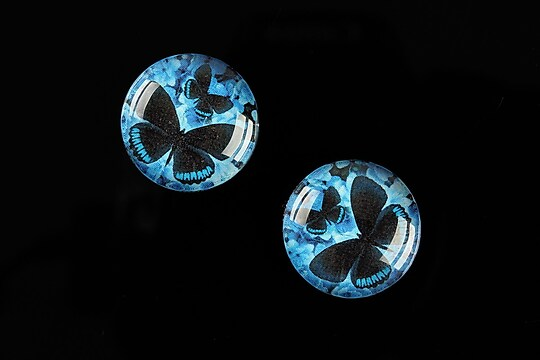 "Cabochon sticla 18mm ""Fly Butterfly"" cod 521"