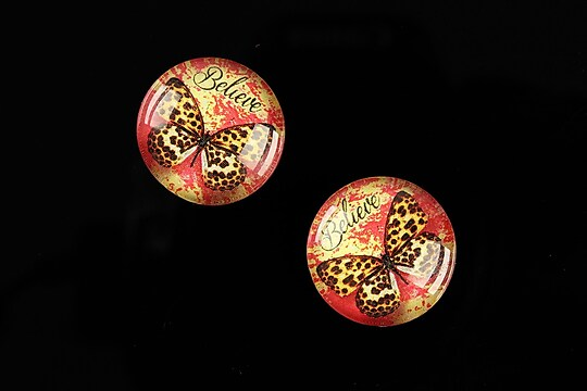 "Cabochon sticla 18mm ""Fly Butterfly"" cod 522"
