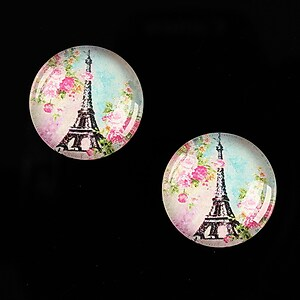 "Cabochon sticla 18mm ""With Paris With Love"" cod 523"