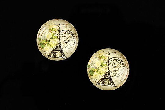 "Cabochon sticla 18mm ""With Paris With Love"" cod 524"