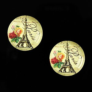 "Cabochon sticla 18mm ""With Paris With Love"" cod 525"