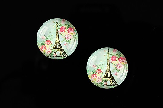 "Cabochon sticla 18mm ""With Paris With Love"" cod 526"