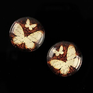"Cabochon sticla 18mm ""Fly Butterfly"" cod 529"