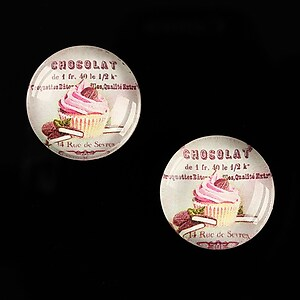 "Cabochon sticla 18mm ""Sweet Cakes"" cod 540"