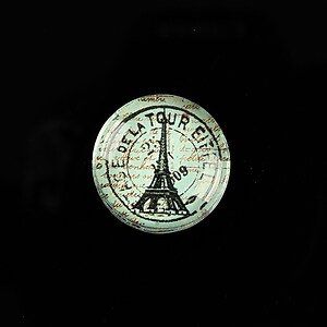 "Cabochon sticla 20mm ""With Paris With Love"" cod 576"