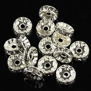Distantiere argintii cu rhinestones mov deschis 10mm (rondele 3,5x10mm)