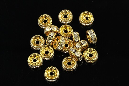 Distantiere aurii cu rhinestones albe 8mm (rondele 3,5x8mm)