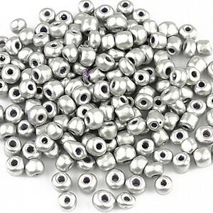 Margele de nisip lucioase 4mm (50g) - cod 342 - argintiu