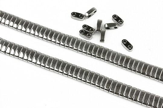 Hematit electroplacat cu 2 orificii 6x2x3mm - argintiu