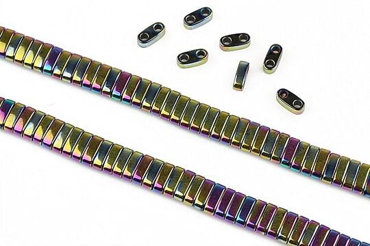 Hematit electroplacat cu 2 orificii 6x2x3mm - multicolor