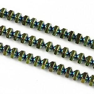 Hematit electroplacat rondele 4x5mm - verde