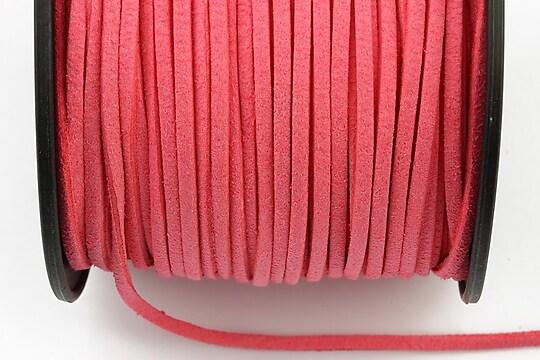 Snur suede (imitatie piele intoarsa) 3x1mm, roz aprins (1m)