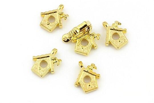 Charm auriu cuib de pasari 15x13mm