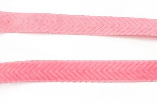 Panglica aspect catifea roz, latime 1,7cm (50cm)