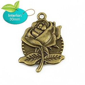 Baza cabochon pandantiv bronz trandafir 54x39mm (interior 30mm)