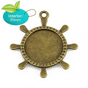 Baza cabochon pandantiv bronz carma 60x50mm (interior 30mm)