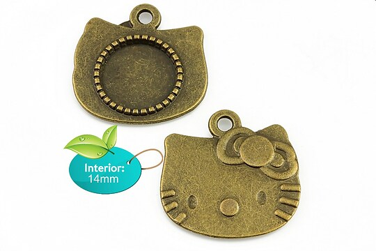 Baza cabochon pandantiv bronz Hello Kitty 25x25mm (interior 14mm)