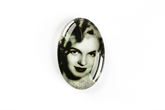 "Cabochon sticla 30x20mm ""Retro"" cod A1111"
