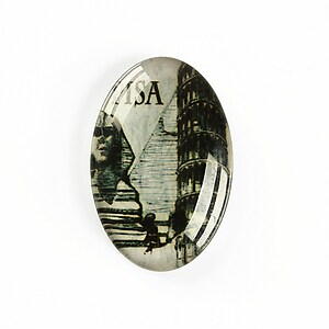 "Cabochon sticla 30x20mm ""Travel"" cod A1165"