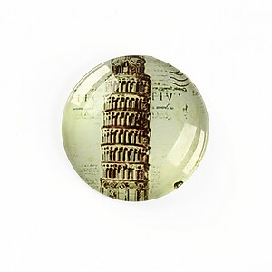 "Cabochon sticla 25mm ""Travel"" cod A1276"