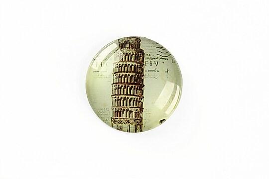 "Cabochon sticla 25mm ""Travel"" cod A1276"