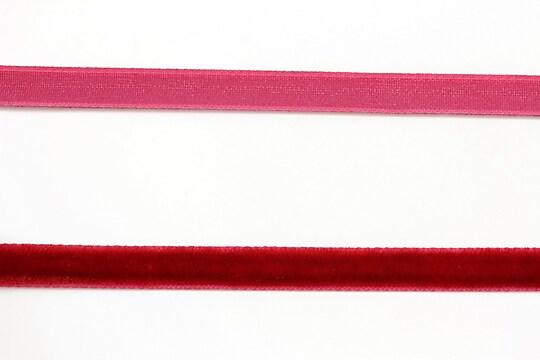 Panglica aspect catifea rosu, latime 1cm (50cm)