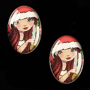 "Cabochon sticla 25x18mm ""Christmas"" cod 578"