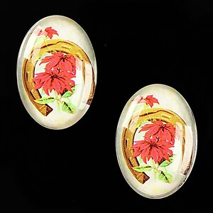 "Cabochon sticla 25x18mm ""Christmas"" cod 581"