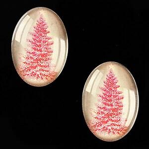 "Cabochon sticla 25x18mm ""Christmas"" cod 582"