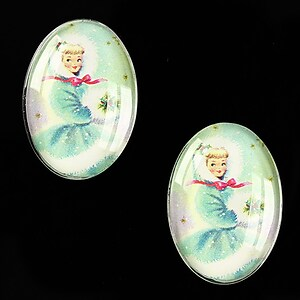 "Cabochon sticla 25x18mm ""Christmas"" cod 583"