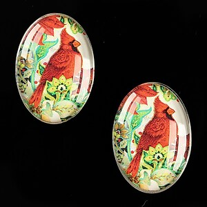 "Cabochon sticla 25x18mm ""Christmas"" cod 585"