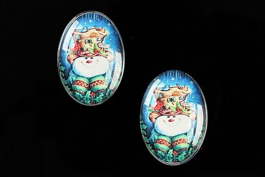 "Cabochon sticla 25x18mm ""Christmas"" cod 586"