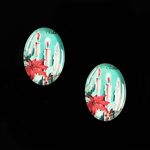 "Cabochon sticla 18x13mm ""Christmas"" cod 587"